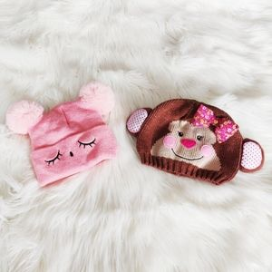 Two Cute Baby Girls Hats / Touques